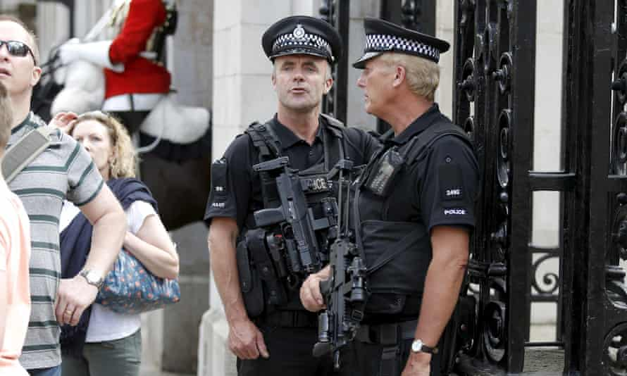 Armed Met police officers on duty at the Pride march in London