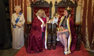 Pamela Boundy and her daughter Morgan Boundy pose for selfies in the throne room at the Royal Wedding Pub.