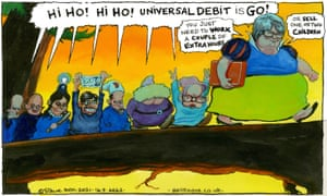 """Steve Bell cartoon 14.9.21: Therese Coffey as Snow White leads seven Cabinet dwarves singing praises of """"universal debit"""""""