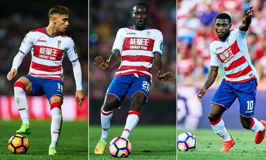 Andreas Pereira ( left), Victorien Angban (centre) and Jérémie Boga in action for Granada this season.