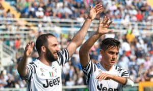 Paulo Dybala, right, is expected to play behind team-mate and fellow Argentinian Gonzalo Higuaín, left, against Monaco.