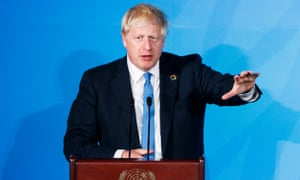 Boris Johnson at the UN HQ in New York. He indicated he would not resign even if justices ruled against him.
