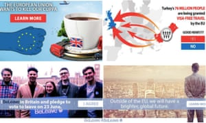 Pro-Brexit ads posted on Facebook during the EU referendum.