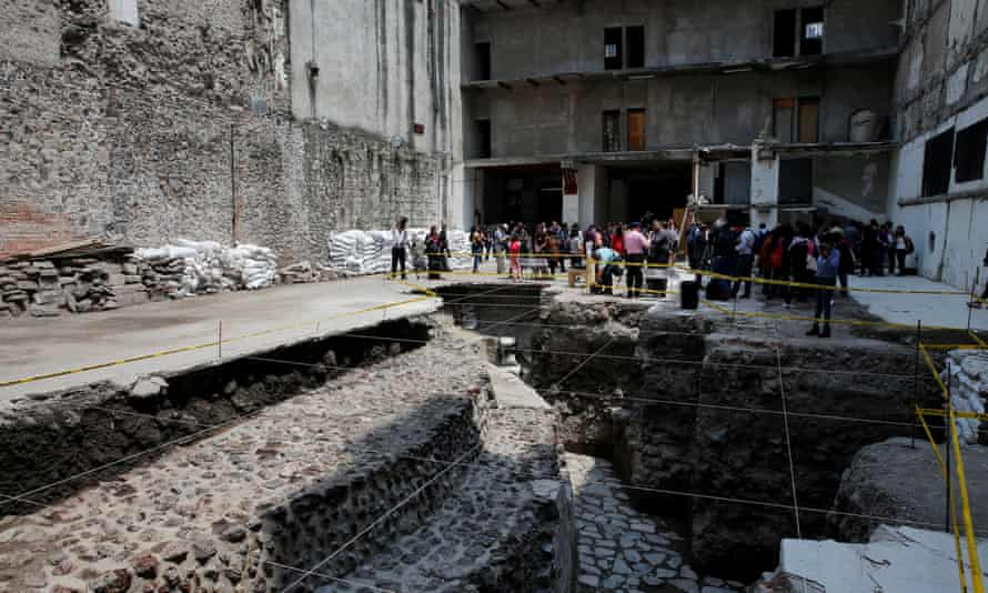 A new Aztec discovery of the remains of the main temple of the wind god Ehecatl, a major deity, is seen during a tour of the area, located just off the Zocalo in downtown Mexico City.