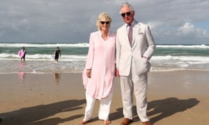 Prince Charles – not in his trunks – with the Duchess of Cornwall on a beach in Australia.