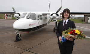 Loganair's millionth passenger, Anne Randall, frequently zips between Westray and Papa Westray on the shortest flight in the world