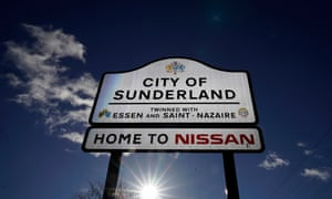Signage at near the Sunderland car assembly plant of Nissan