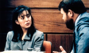 Lorena Bobbitt is questioned by an attorney during her trial.