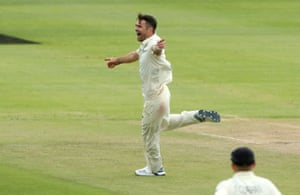 England's James Anderson celebrates taking the wicket of South Africa's Zubayr Hamza.