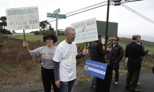 Protesters defend the public's right to access Martin's Beach in Half Moon Bay, California.