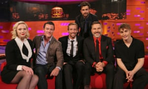 Sam Fender on the Graham Norton show with (left to right) Gwendoline Christie, Luke Evans, Peter Crouch, guest host Jack Whitehall and David Walliams.