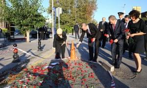 Turkey's president, Recep Tayyip Erdoğan, visits site of bomb attack in Ankara in October.