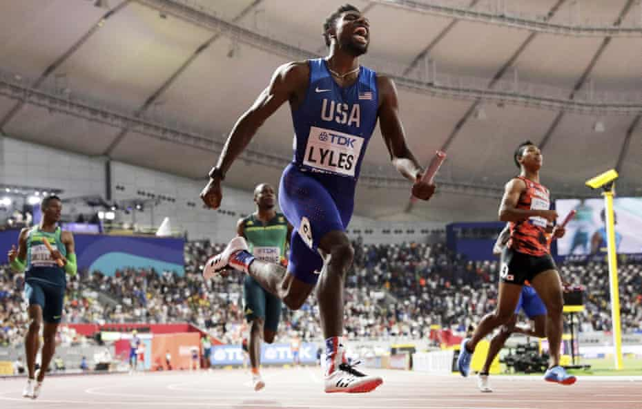 Noah Lyles leads the US team to 4x100m gold at the 2019 world championships