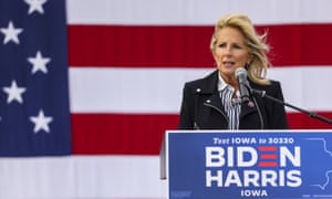 Jill Biden speaks about Covid-19 fatalities while promising a nationwide strategy to end the pandemic in the United States under a Biden administration during a drive-in rally for her husband in Cedar Rapids, Iowa, at the weekend.