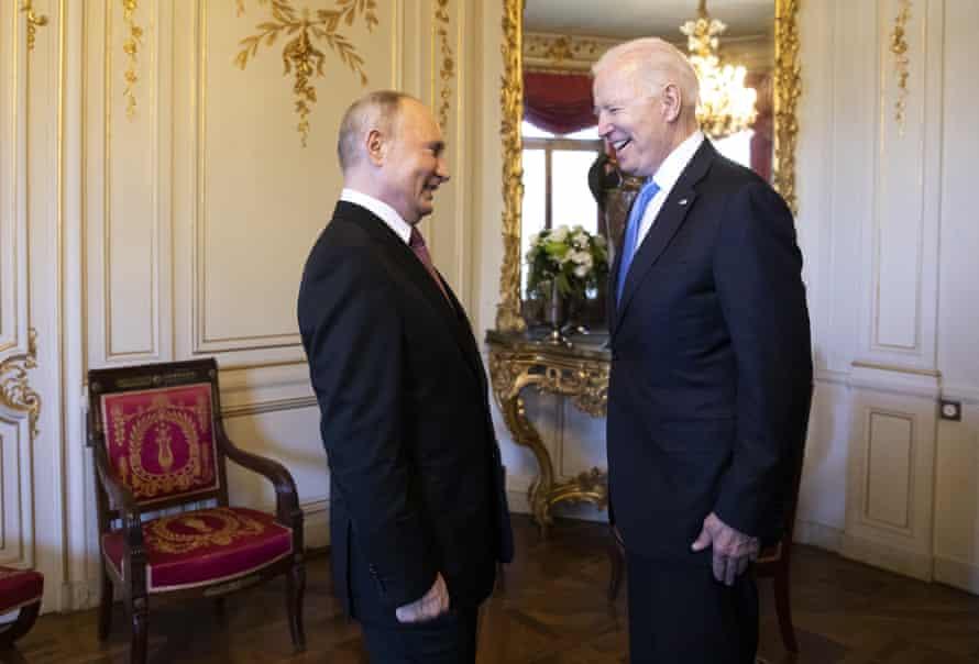Russian president Vladimir Putin, left, talks with US president Joe Biden, right, during the US - Russia summit in Geneva
