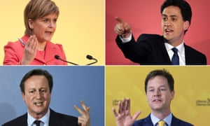 Clockwise from top left: Scottish National party leader Nicola Sturgeon, Labour leader Ed Miliband, Lib Dem leader Nick Clegg and Tory PM David Cameron on the campaign trail.