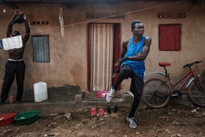 Joshua Tukamuhebwa, 20, trains at home in the Naguru slum in Kampala, 9 April