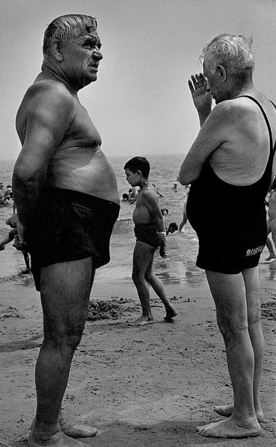 Two Men and a Boy Contemplate, Coney Island, New York, 1950