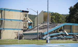 A public school in Guánica, Puerto Rico, collapsed after a magnitude 6.4 earthquake hit just south of the islan on 7 January.