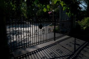 Elaborate stone and iron gates prevent traffic from passing through some wealthy residential areas of neighborhoods, like the Central West End in St. Louis, pictured here on Thursday, Sept. 12, 2019.