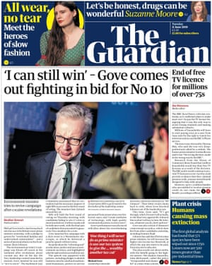 Guardian front page, Tuesday 11 June 2019