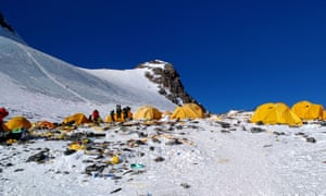 Discarded climbing equipment and rubbish around Camp 4 on Mount Everest.