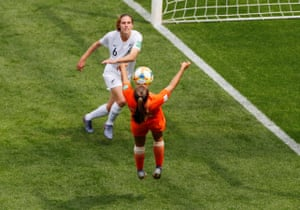 Netherlands' Lieke Martens can't quite get the angle right nd heads over the bar.