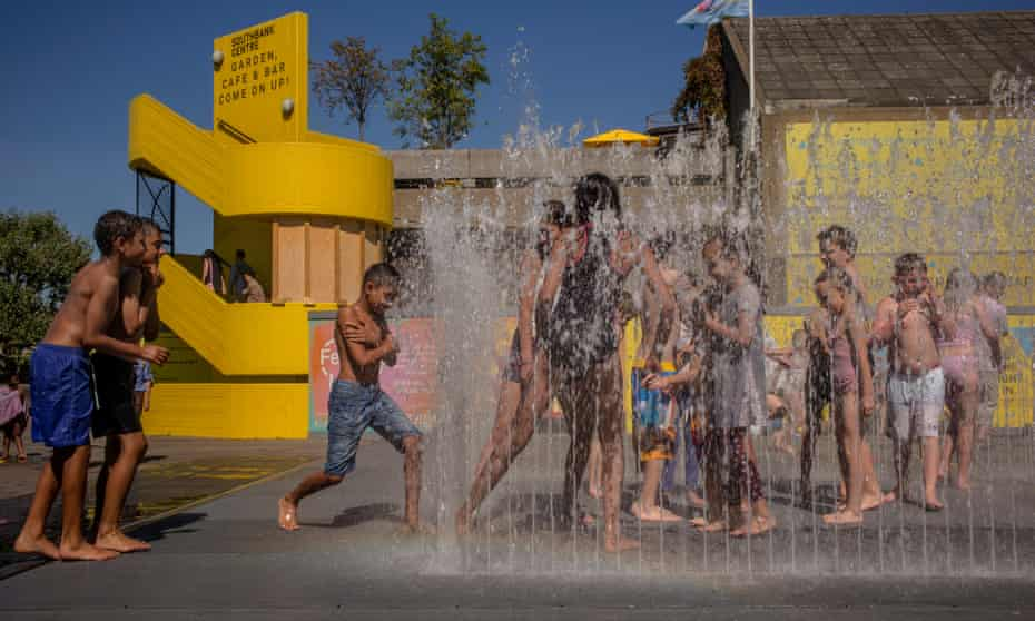 Children enjoying the fountains on London's Southbank.