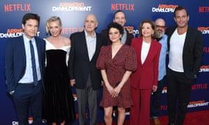 Arrested Development cast members, including Jason Bateman (left), Jeffrey Tambor (third left) and Jessica Walter (third right).