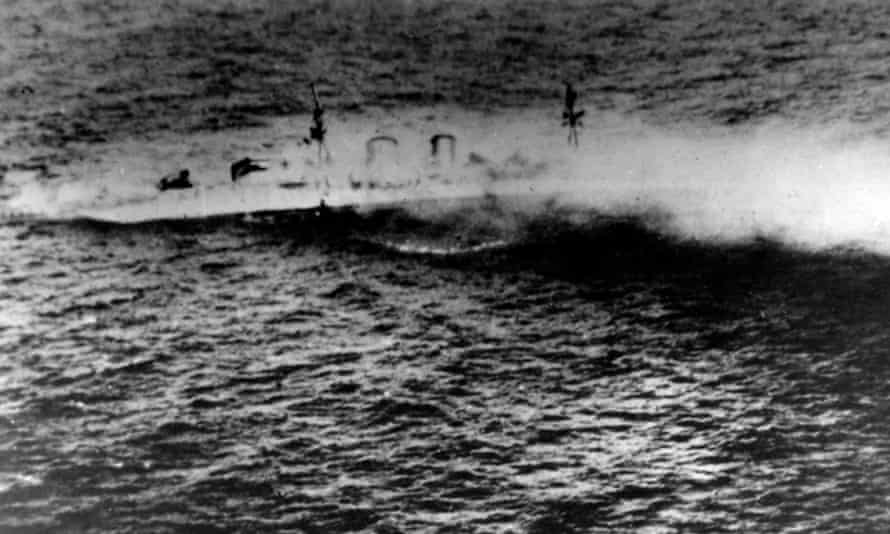 HMS Exeter sinking after the Battle of the Java Sea, 1 March 1942.