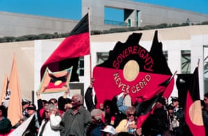 Student, Indigenous and union protesters demonstrate against budget cuts in the Parliament House forecourt in August 1996