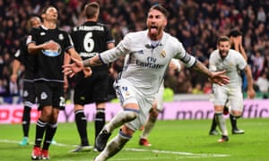 Sergio Ramos celebrates after scoring Real Madrid's stoppage-time winner.
