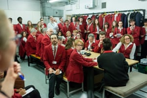 Royal Albert Hall staff sit in a briefing meeting before the start of the awards ceremony