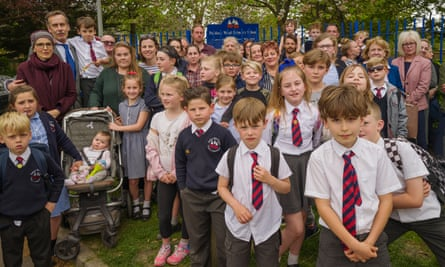 Charles Marshall with protesting parents and children at Paddock Wood primary school in Kent
