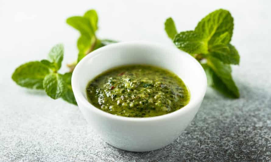 Mint sauce … go crazy with it.