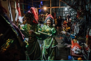 Performers backstage at a Chinese opera
