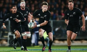 Beauden Barrett, with the ball, has scored 118 points in seven Test starts and two substitute appearances this year