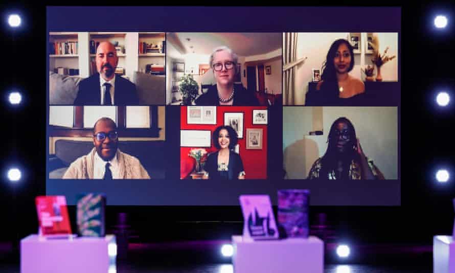 Shortlisted authors, (top L-R) Douglas Stuart, Diane Cook, Avni Doshi, (bottom L-R) Brandon Taylor, Maaza Mengiste and Tsitsi Dangarembga speak at the 2020 Booker prize ceremony on Thursday evening.