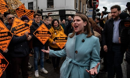 Lib Dem Leader Jo Swinson on the campaign trail in St Albans yesterday.
