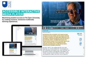 The Open University's accessible interactive media player has a range of features, including subtitles and interactive transcripts.