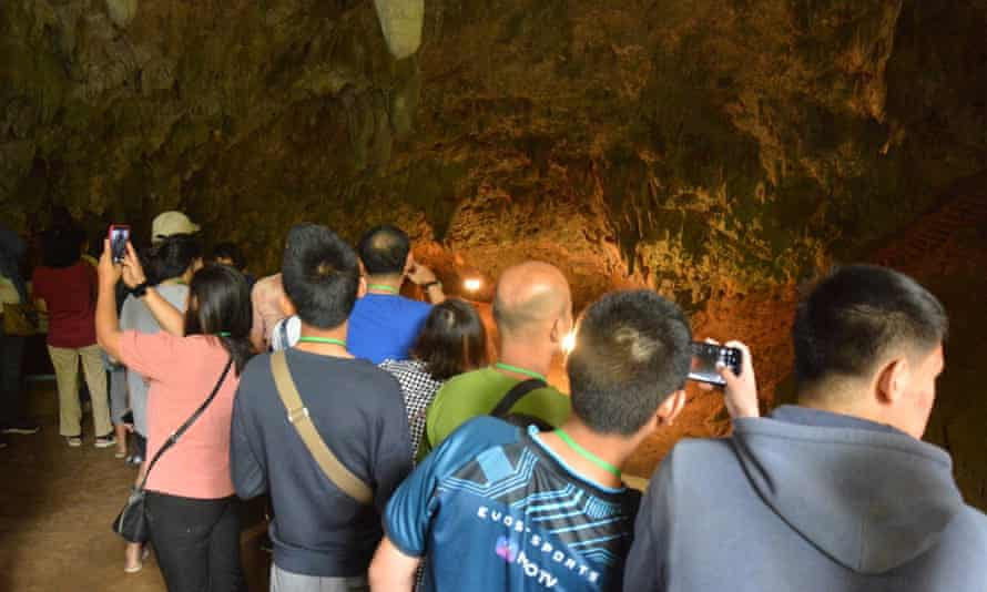 Visitors inside the Tham Luang Nang Non cave complex