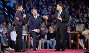Marco Rubio at the CNN town hall, where he met survivors of the Parkland students.