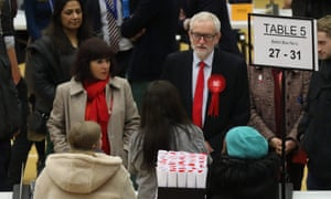 Jeremy Corbyn with his wife Laura Alvarez on election night.