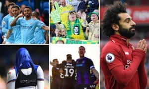 Clockwise from top left: Gabriel Jesus, Norwich fans get ready for promotion, Mohamed Salah, Luton players celebrate and an Ipswich player in anguish