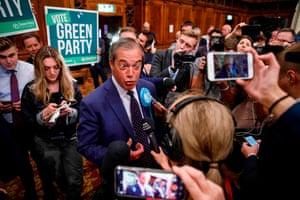 Farage speaks to journalists in Southampton