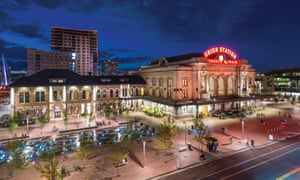 Denver's Union Station, at night; the hub of its rejuvenated downtown. Colorado, US.