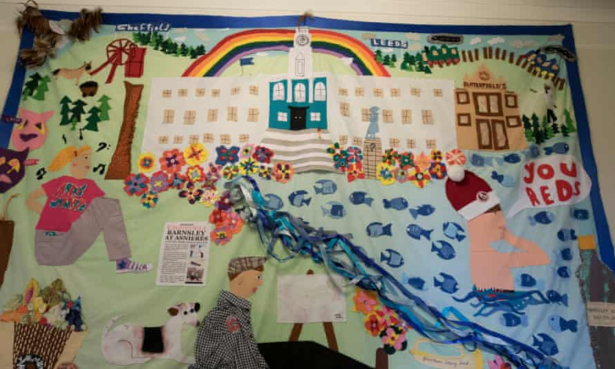 A banner made by local schoolchildren at Barnsley town hall.