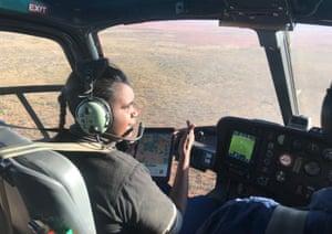 Samantha Hiranni Simler Nugget in a helicopter