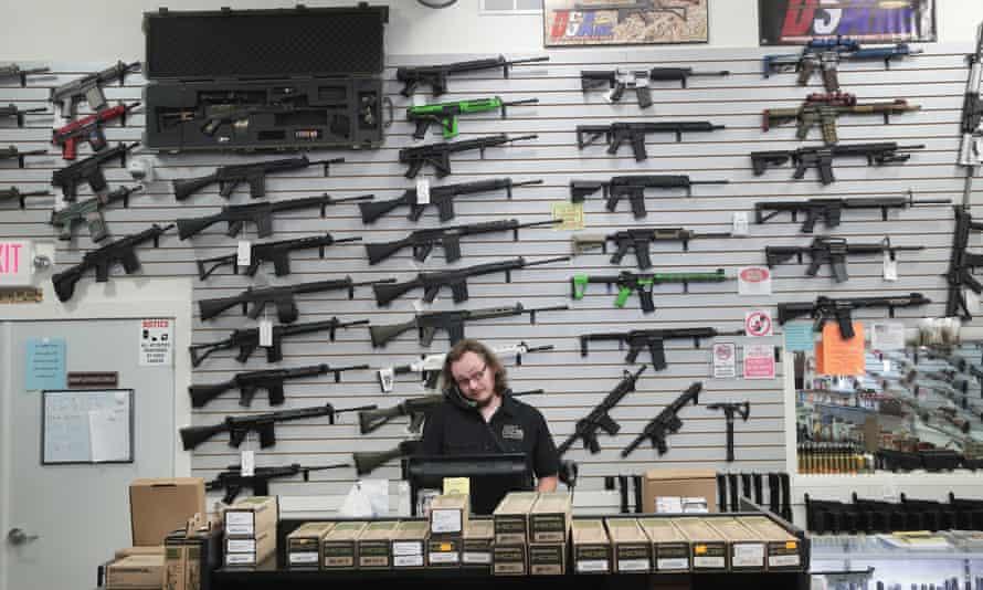 Guns for sale inside the DSA Inc store on 17 June 2016 in Lake Barrington, Illinois.
