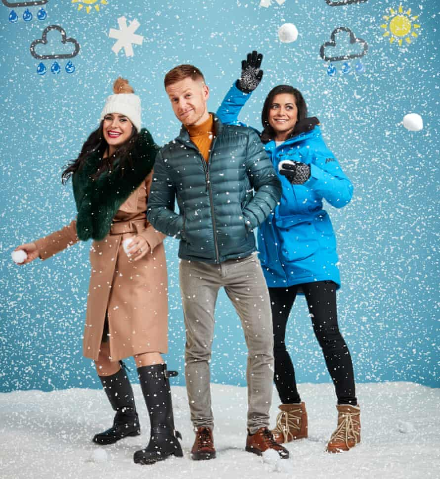 Weather presenters Nazaneen Ghaffar, Tomasz Schafernaker and Lucy Verasamy